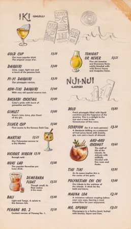 Kon-Tiki - 60s cocktail menu page